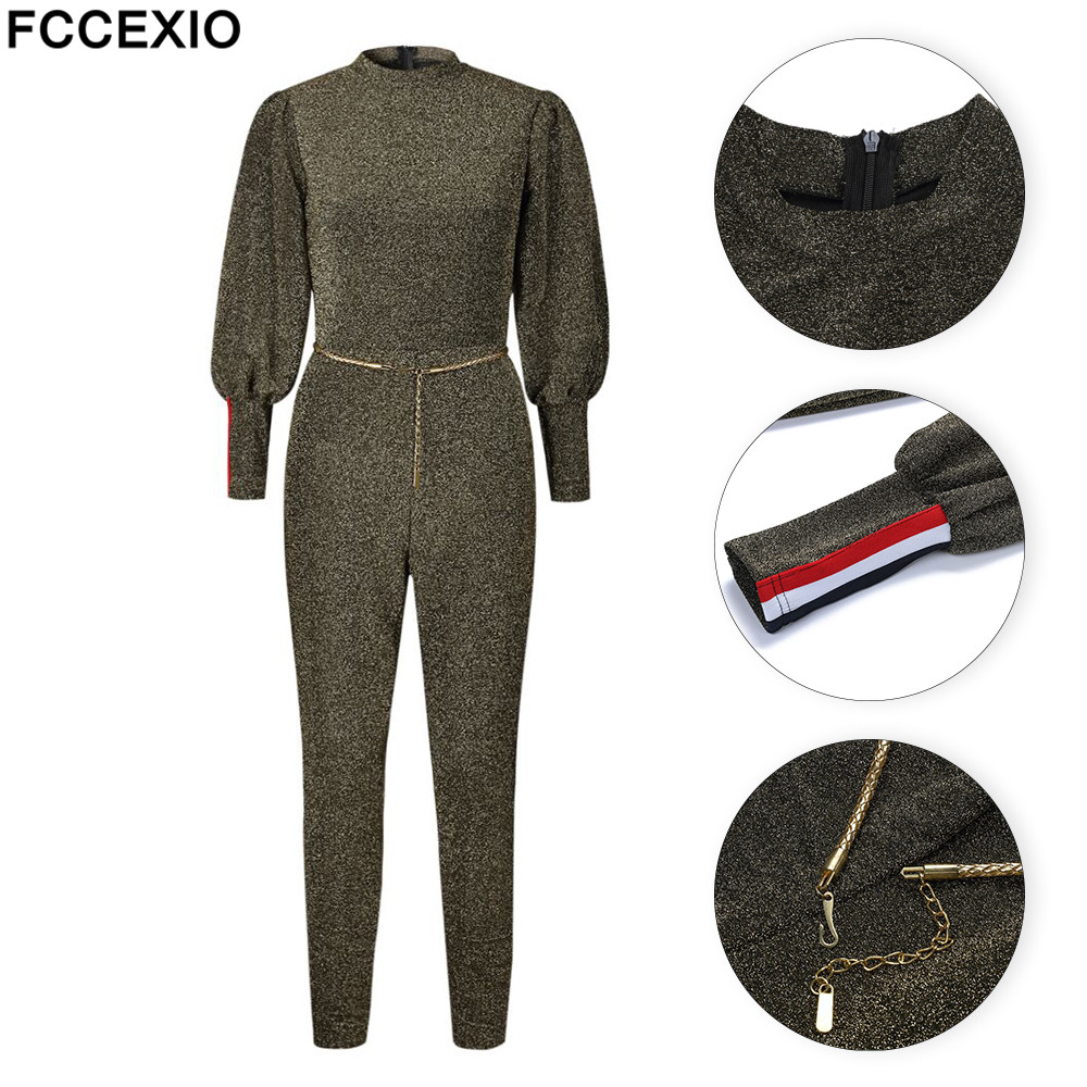 FCCEXIO New Brand 2018 Summer Womans Clothing Frosted Jumpsuits & Rompers Womens Plus Size Party Fashion Pants and Clothing