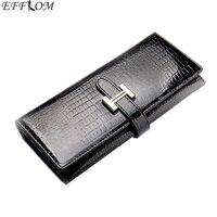 Crocodile Pattern Cowhide Wallet Female Genuine Patent Leather Money Purse Long Slim Phone Pouch Women Wallets