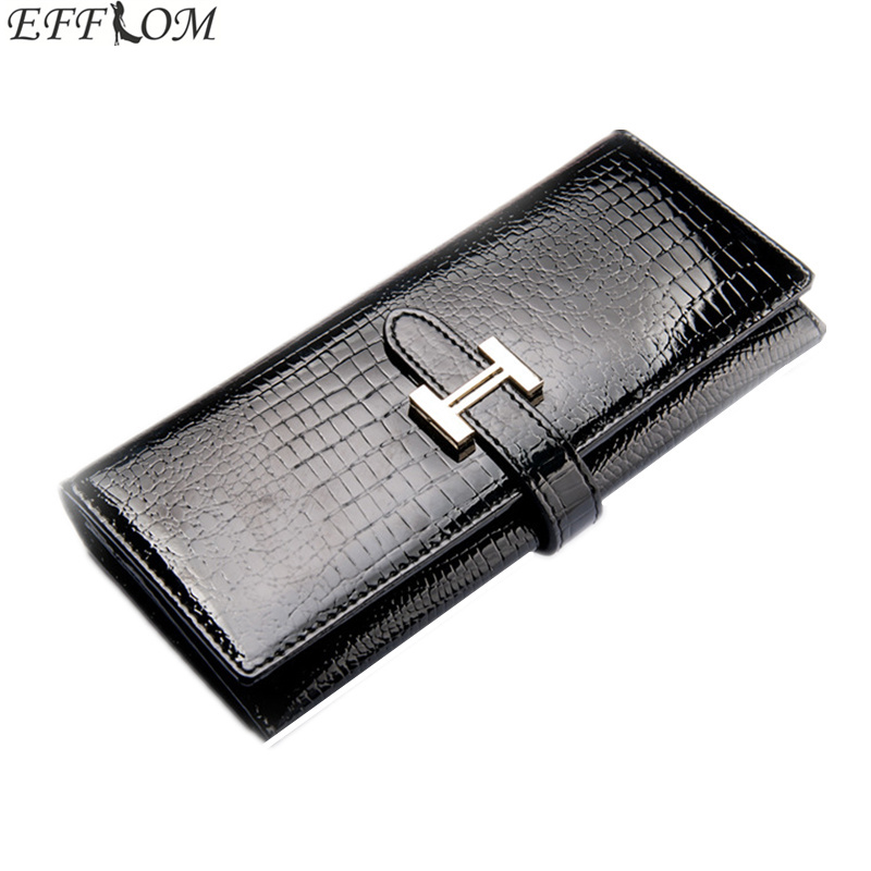 Crocodile Pattern Cowhide Wallet Female Genuine Patent Leather Money Purse Long Slim Phone Pouch Women Wallets with Card Holder 2018 style wallet women purse luxury brand women leather handbags card phone long wallet crocodile pattern wallets female purse