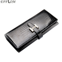 Crocodile Pattern Cowhide Wallet Female Genuine Patent Leather Money Purse Long Slim Phone Pouch Women Wallets