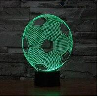 Calcio lampada di tocco LED 3D, Illusione ottica 7 colori modifica 5 V USB per il computer portatile, Natale giocattolo del fumetto lampada