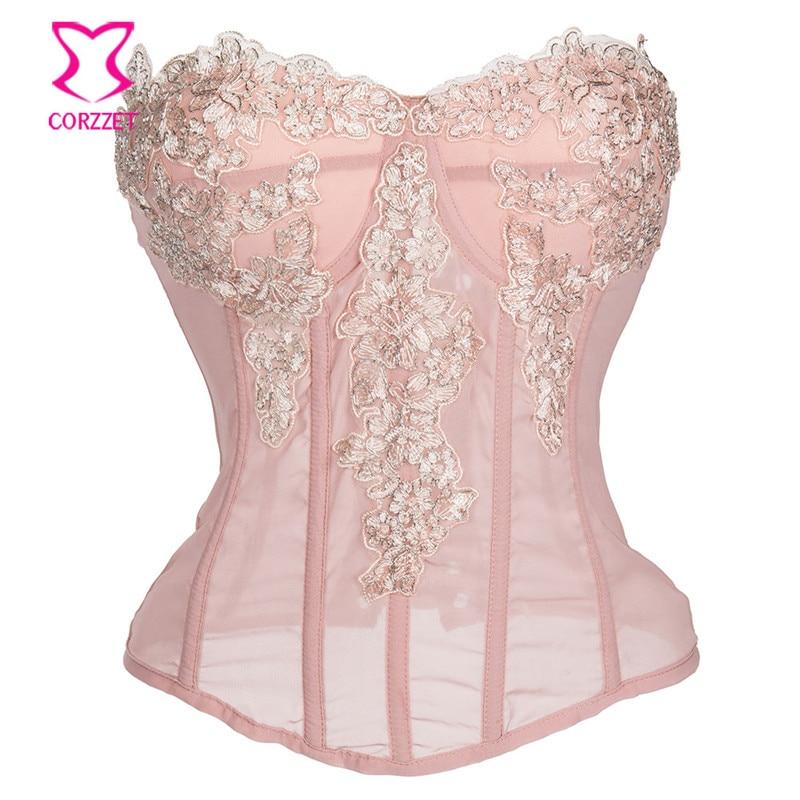 Pink Chiffon Floral Appliques Gothic Corset Sexy Boned Waist Cincher Bustier Top Corset Push Up Burlesque Corselet Korse Rosetic