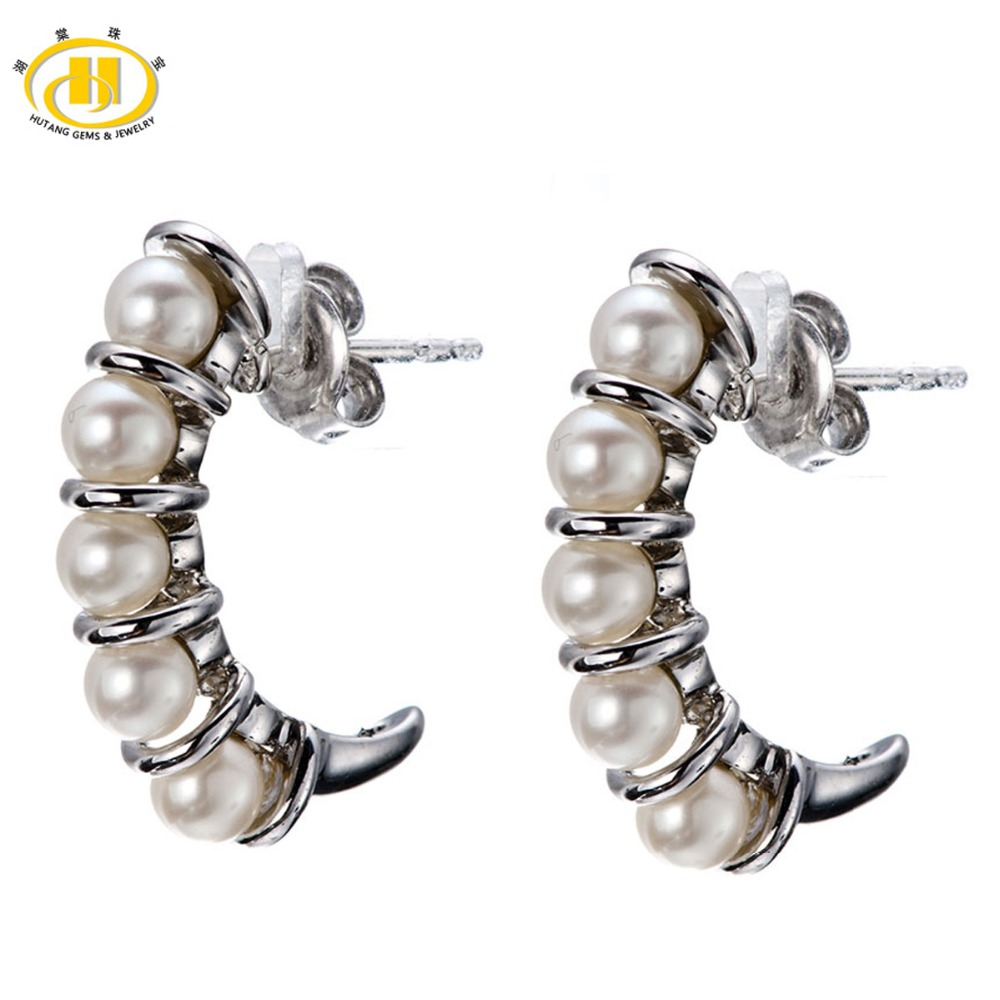 Hutang Pearl Jewelry Brand New Freshwater Cultured Pearl Solid 925 Sterling Silver Stud Earrings Wedding Womens Fine Jewelry