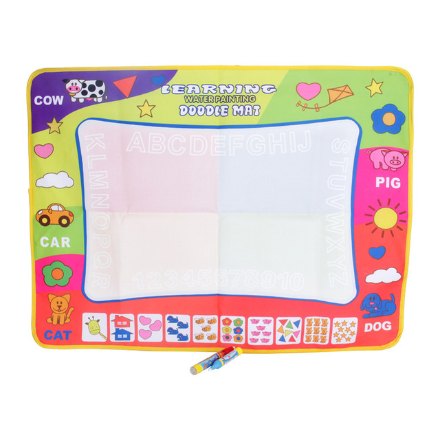 80 x 60cm Water Drawing Mat Toys for Children with Magic Pen Colorful Water Drawing Board Baby Play Mat Kids Educational Toys