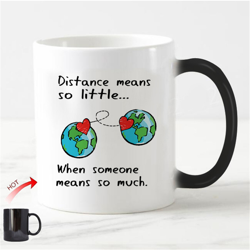 Chic Long Distance Relationship Magic Mug Love Valentine Anniversary Gifts Heat Color Change Cups Creative Girlfriend Boyfriend(China)
