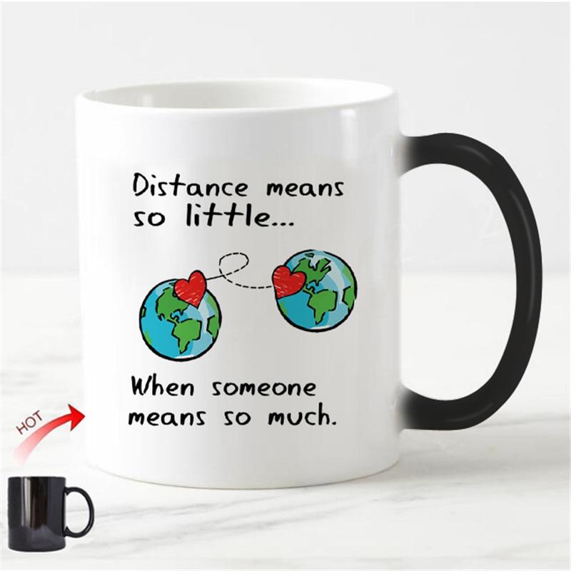 Chic Long Distance Relationship Magic Mug Love Valentine Anniversary Gifts Heat Color Change Cups Creative Girlfriend Boyfriend(China)