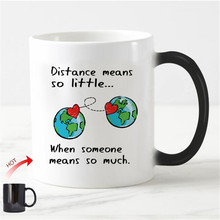 Chic Long Distance Relationship Magic Mug Love Valentine Anniversary Gifts Heat Color Change Cups Creative Girlfriend Boyfriend