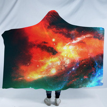 Starry Sky Hooded Blanket For Adults 3D Printed Portable Blanket For Sofa Wearable Warm Throw Blanket For Home Travel Picnic halloween hooded blanket for home travel picnic 3d printed portable warm blanket for sofa wearable throw blanket for adults kids