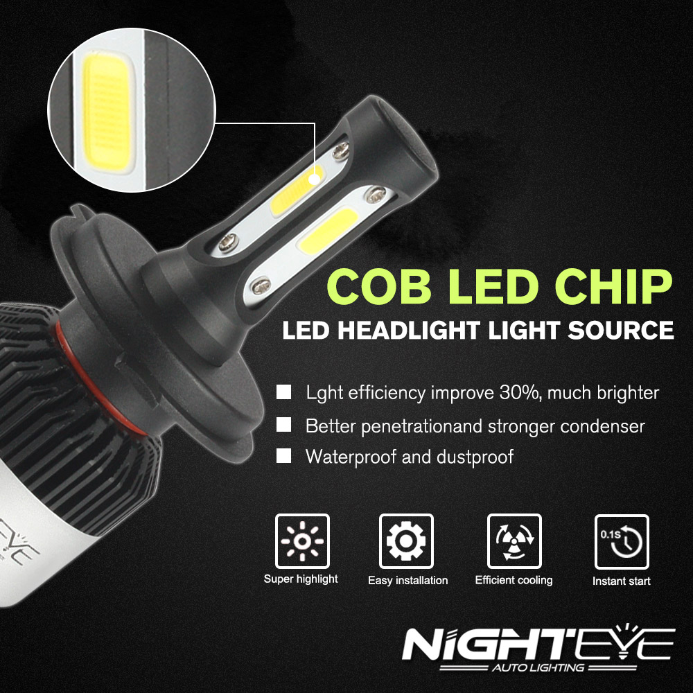Image 5 - NIGHTEYE Super Bright Car Headlights H7 LED H4 led H8/H9/H11 HB3/9005 HB4/9006 Auto Bulb 72W 9000LM Automobiles Headlamp 6500K-in Car Headlight Bulbs(LED) from Automobiles & Motorcycles