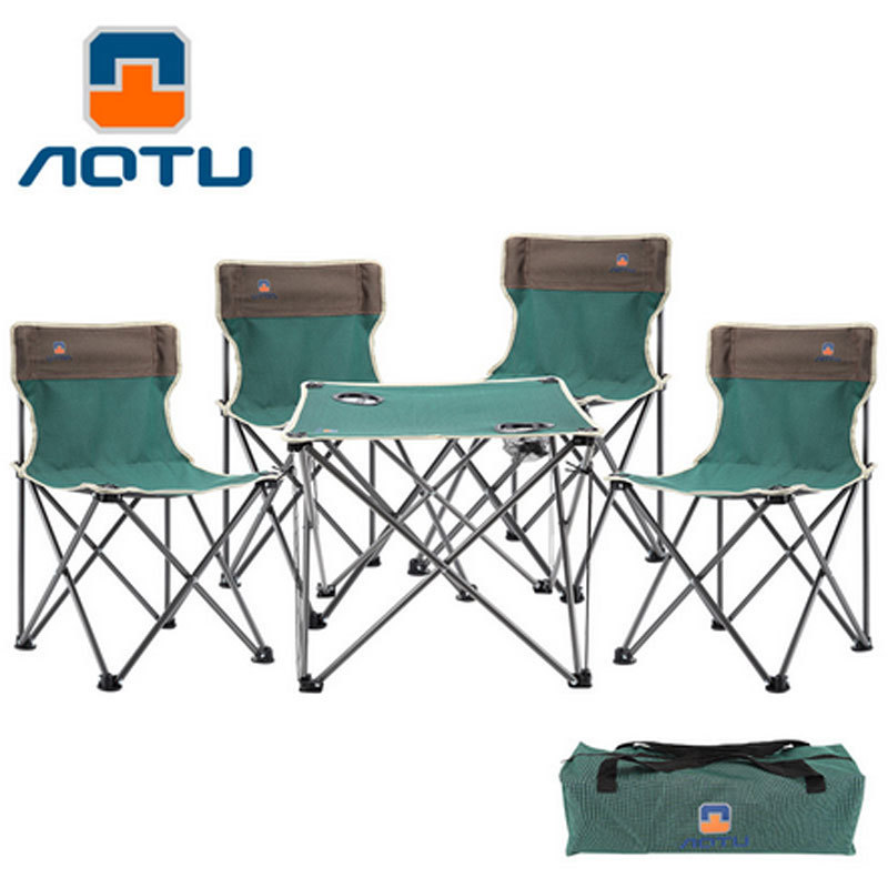 Portable Camping Picnic BBQ Set 4 chairs + 1 table Lightweight Folding Outdoor Hiking Camping Fishing Seat Chair HW178 color picnic set