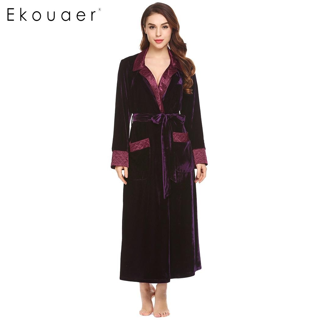 Aliexpress.com : Buy Ekouaer Flannel Robe Silk Long Women Dressing ...