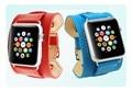 100% correa de cuero genuino correa de reloj con adaptador de conector para 42mm 38mm apple watch band para iwatch deportes hebilla pulsera