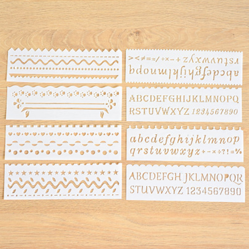 8 Pcs/lot Letter Numbers Layering Stencils For Walls Painting Drawing Ruler DIY Scrapbooking Stamp Decoration Embossing Crafts