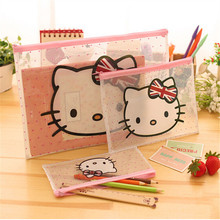 Hello Cat File Bag Document Bag Folder Stationery Filing Cosmetic Makeup Bag Student School Supplies Pen Bag Container