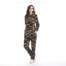 OMONSIM Camouflage Printed Autumn and Winter 2 Pieces/Set Hooded Cashmere Sweatshirt+Trousers Plus Size Female Leisure Suit 5540