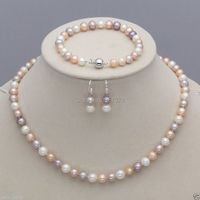Free Shipping 00001 Genuine 7-8mm White Pink Purple Freshwater Pearl Necklace Bracelet Earrings Set