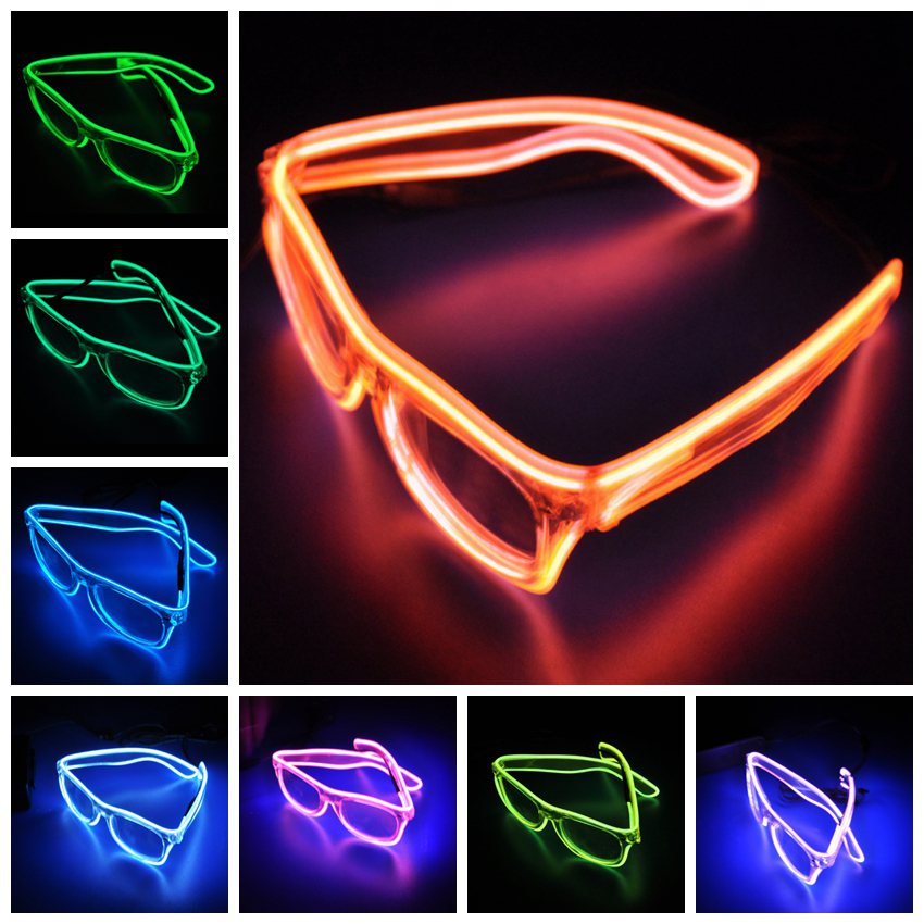Christmas Glowing Glasses Halloween Glitter Glasses Fluorescent Glasses Glowing Personality El Wire Led Light Up Flashing