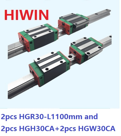 2pcs 100% original Hiwin linear rail HGR30 -L 1100mm + 2pcs HGH30CA and 2pcs HGW30CA/HGW30CC linear block for CNC router 2pcs 100
