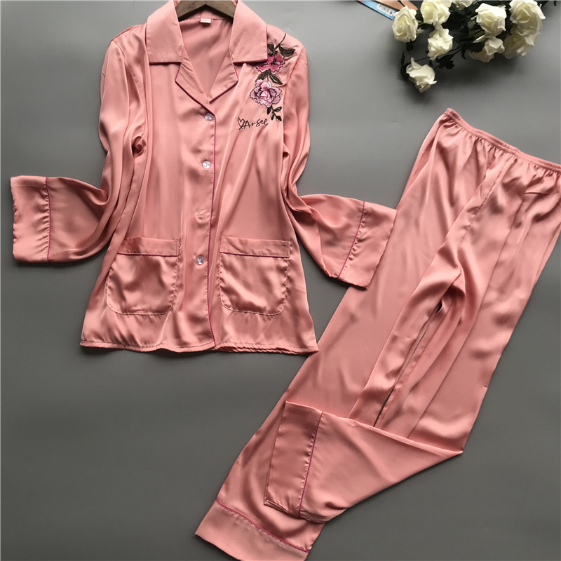 2019 Women   Pajamas     Sets   with Pants Silk Pijama Mujer Spring Summer Sleepwear Pyjama Embroidery Elegant Night Wear Nightsuits