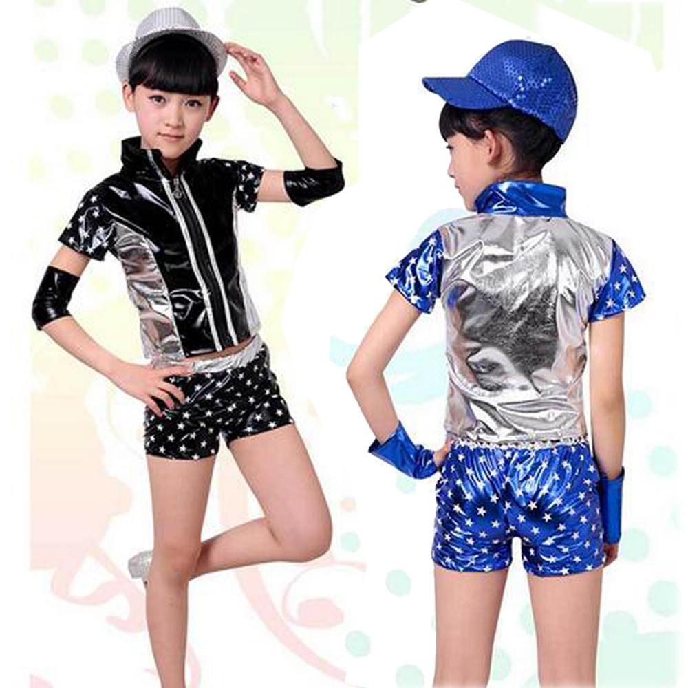 Unisex Jazz Dance Suit Children Xmas Five Stars Modern Hip-hop Clothing Girls Boys Ballroom Costume for Perform & Competition