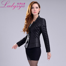 Free shipping 2016 Spring autumn plus size clothing leather jacket slim patchwork Senior washed PU leather