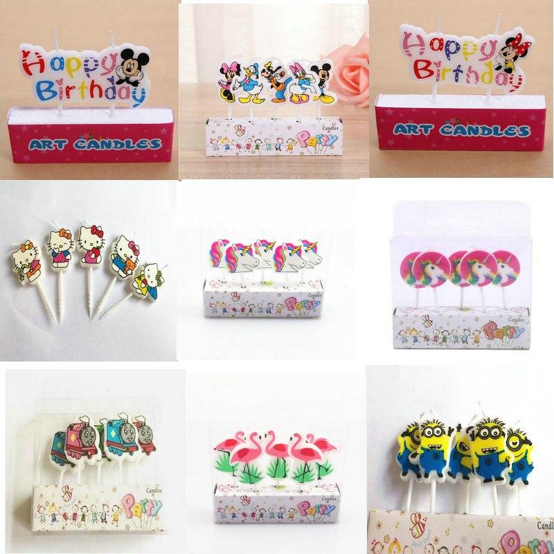 1 Set Eenhoorn Moana Minions Emoji Hello Kitty Spiderman Feestartikelen Kids Birthday Kaarsen Cake Avondfeest Decoraties