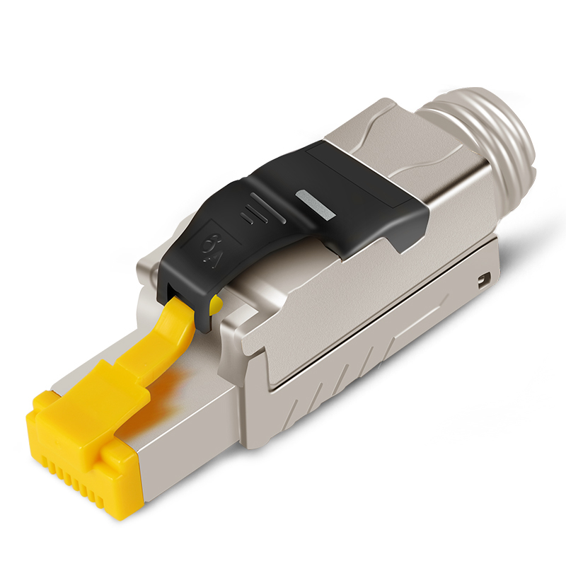 CAT6A CAT7 8 Shielded Crystal Head FTP RJ45 Connector Metal Module Tool-Free Plug Computer Cable Adapter 10Gbps Server Network