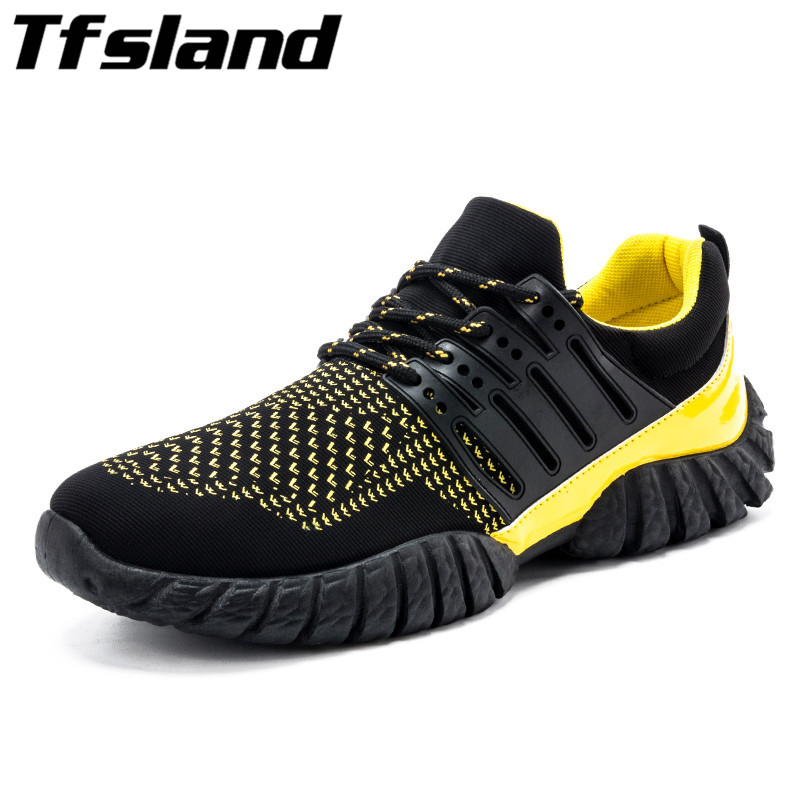 Tfsland Men Fly Woven Breathable Outdoor Sport Shoes Male Lace Up Flat Lightweight Running Shoes Zapatillas Hombre Soft Sneakers