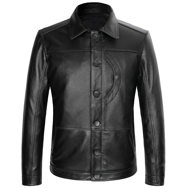 Jacket Natural-Coat Cowhide Single-Breasted XXXXL Genuine American Black Casual Plus-Size