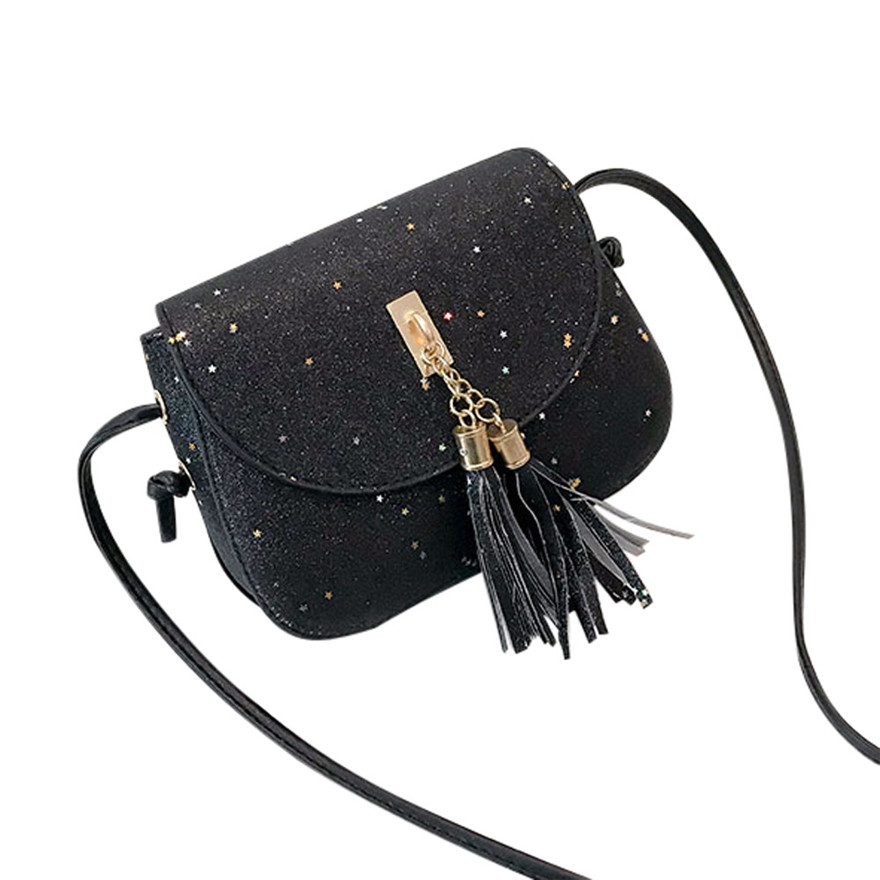 Fashion Women Sequins Tassel Leather Crossbody Bag High Quality Satchels Phone Bag Poupular Zipper Hasp Shoulder Bags bolsos S