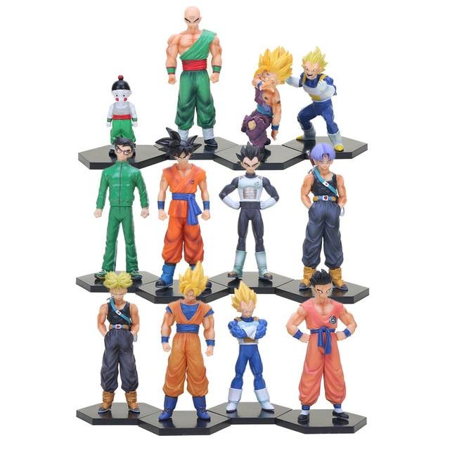 4 pçs/set Figuras de Ação De Dragon Ball Z Super Saiyan Goku Gohan Vegeta Trunks Yamcha Figura PVC set Collectible Modelo brinquedo