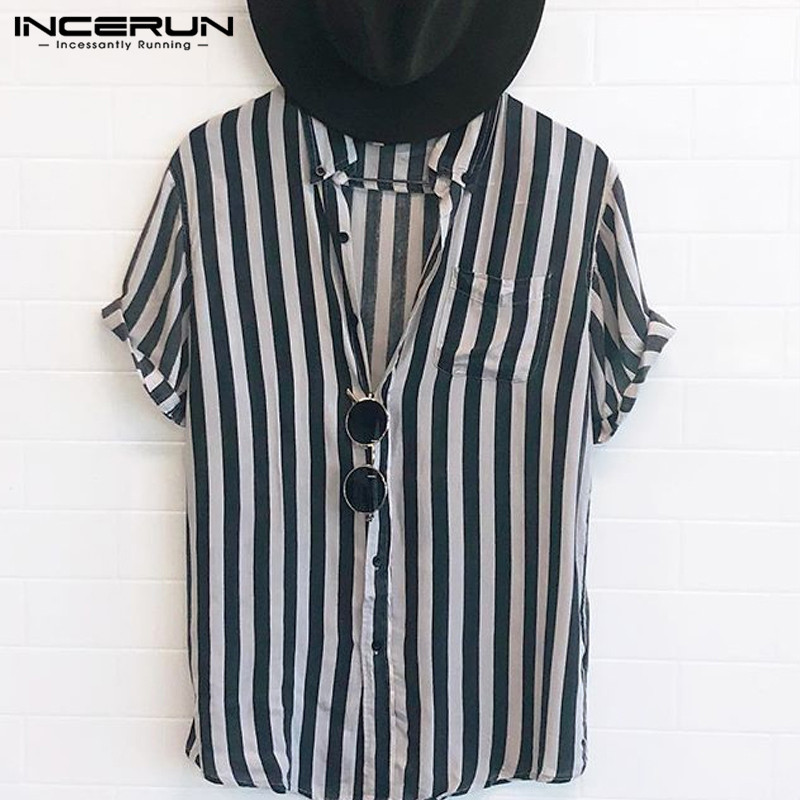 INCERUN Fashion Striped Men Shirt Lapel Neck Button Streetwear Casual Brand Shirts Men Hip-hop Short Sleeve Tops Camisa 2019 5XL