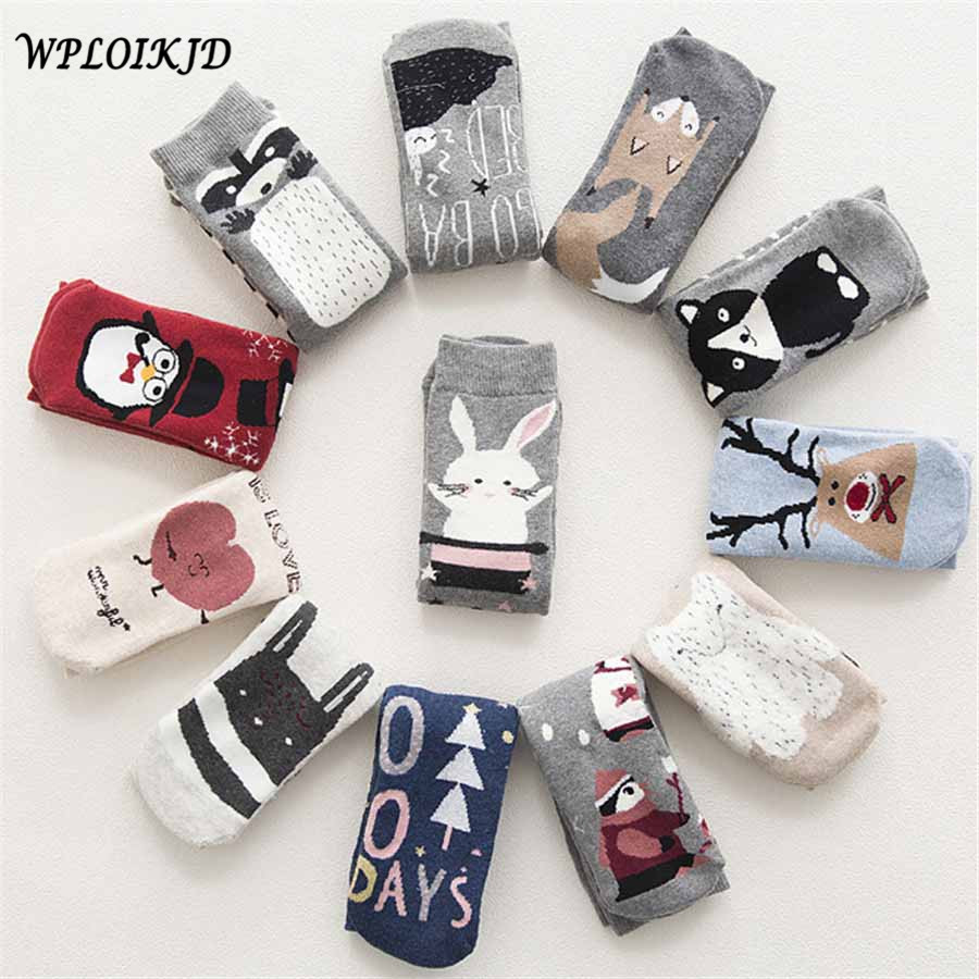 [WPLOIKJD]Autumn Winter Warm Terry-Loop Cute Socks Cartoon Animals Patterns Casual Funny Socks Sokken Christmas Calcetines Gift