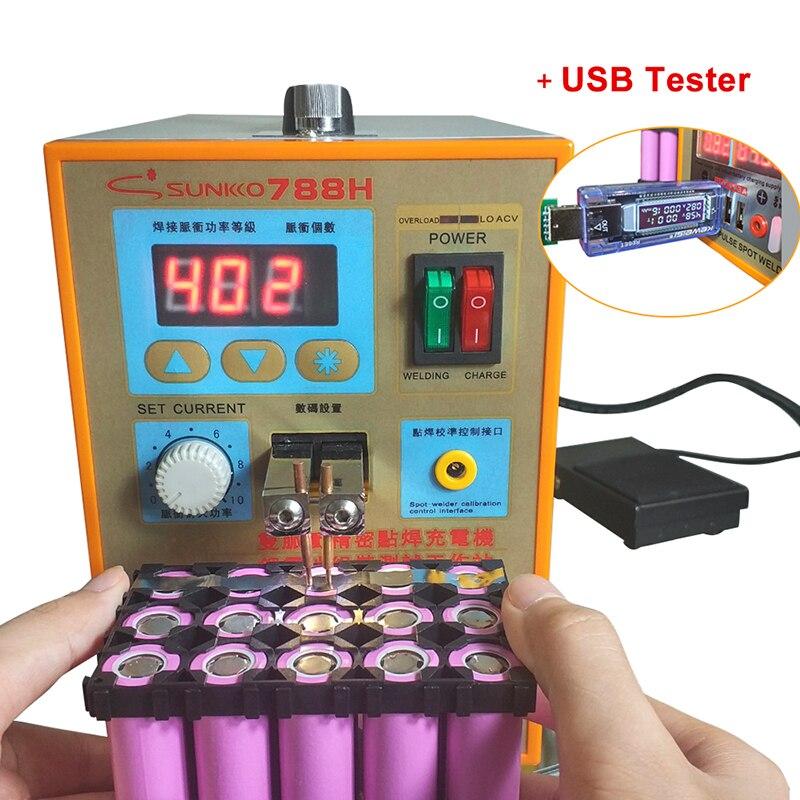 Sunkko 788 H USB battery spot soldador carga USB prueba Iluminación LED 220 V 110 V máquina de soldadura 18650 punto de prueba de soldadura