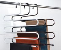 Pants Hanger Holders Trousers Towels Clothes Apparel Hangers 5 Layer Space Saving Random Color