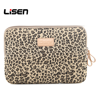 Lisen Leopards Spot Canvas Fabric Laptop Sleeve Notebook Zipper Inner Pouch Carry Bag for Dell Hp Lenovo Sony Toshiba Acer Asus