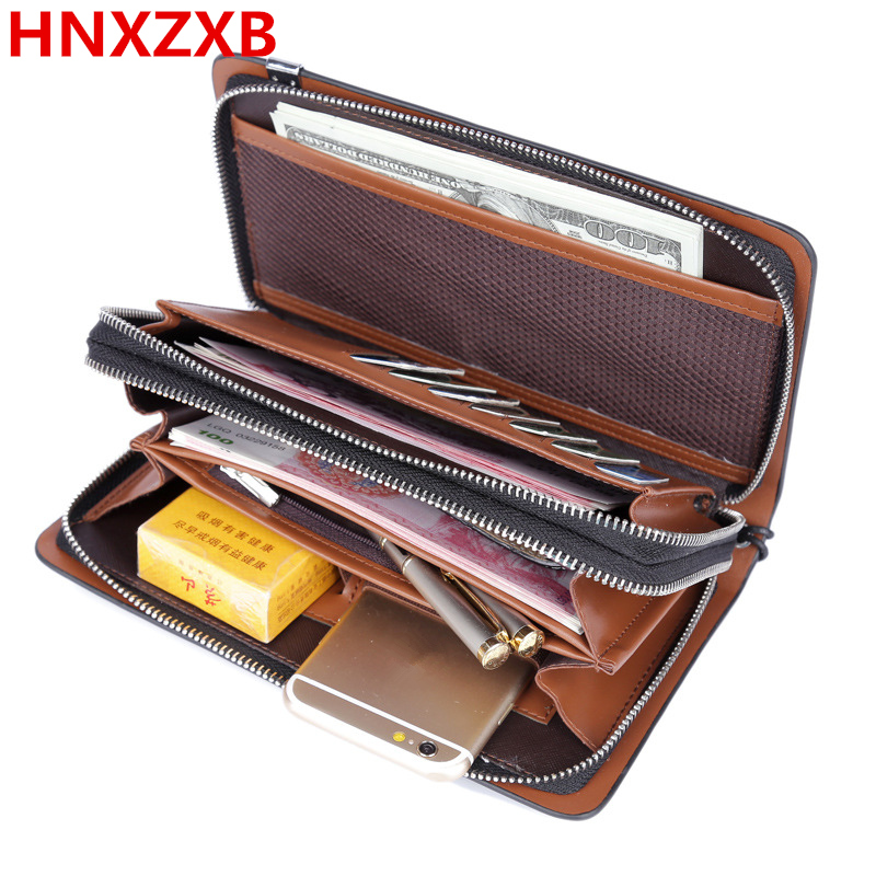 HNXZXB New fashion men wallet genuine leather purse and handbags for male luxury brand black zipper men clutches free shipping new fashion men wallet pu leather purse handbags for male luxury brand black no zipper men clutches free shipping card holder
