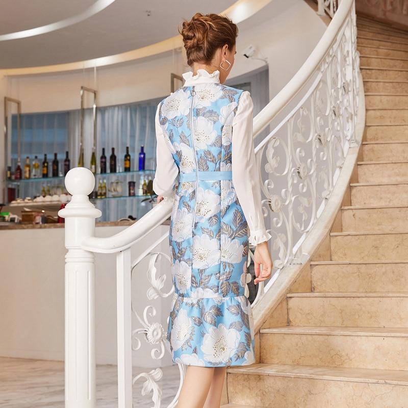 collo Elegante O Stampa Maniche Molla Vintage Vestito Dell'increspatura Modo Del Sirena Di Jacquard Partito Donne Senza Abiti Aderente 2019 Della roxBeCWd