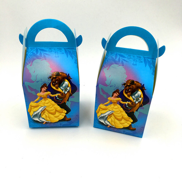 Us 6 3 10 Off 6pcs Lot Beauty And Beast Hand Bags Candy Boxes Kids Birthday Gift Boxes Beauty And Paper Bags Happy Birthday Party Decoration In