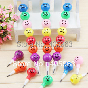 7 Colors 100 pcs/lots New Cute Colorful pencil Face Expression pencil back to school staionery