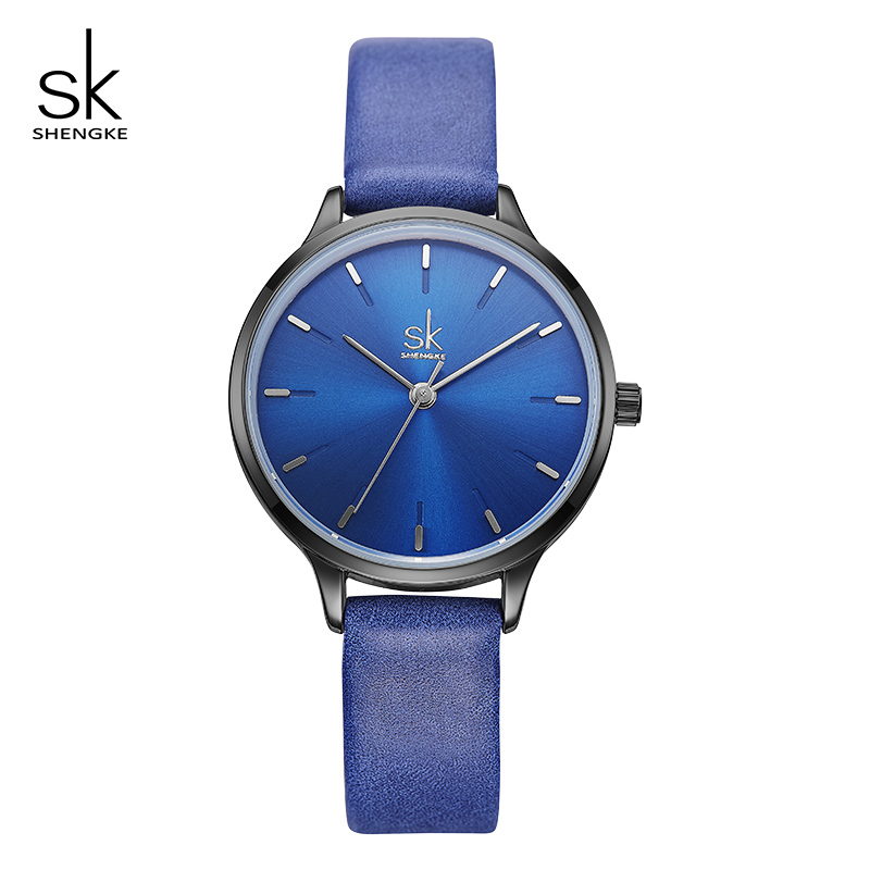 Shengke Blue Fashion Watches Women Leather Wrist Watch Luxury Quartz Watch Female Girls Clock Montre Femme 2018 SK Reloj Mujer shengke brand fashion watches women casual leather strap female quartz watch reloj mujer 2018 sk women wrist watch k8025