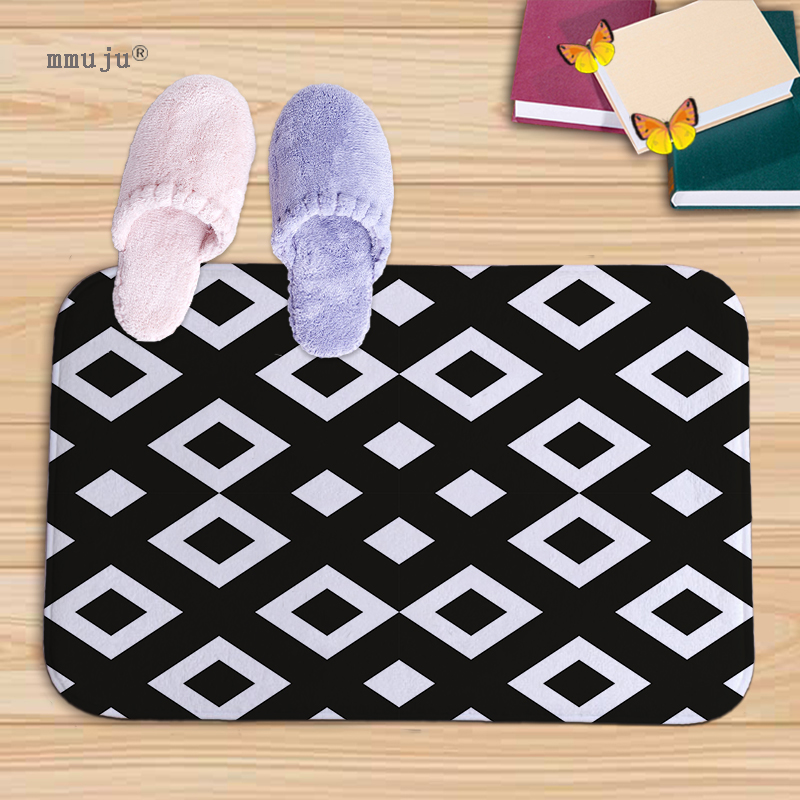 NEW Flannel anti-slip mats black white geometric printed Rectangular Mat 40*60cm Entrance Doormats Kitchen Floor Bathroom carpet