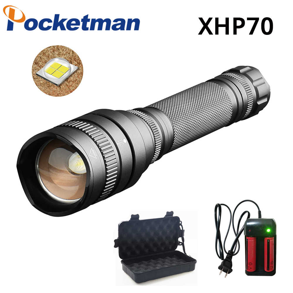 35000lm XHP70 flashlight powerful Tactical LED flashlight torch zoom Lantern 5 modes lamp by 2*18650 battery NEW ARRIVAL
