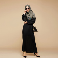 2016 Fashion Appliques Balck Abaya Muslim Long Dress Turkish Pakistan Women Clothing Burqa Plus Size Dubai