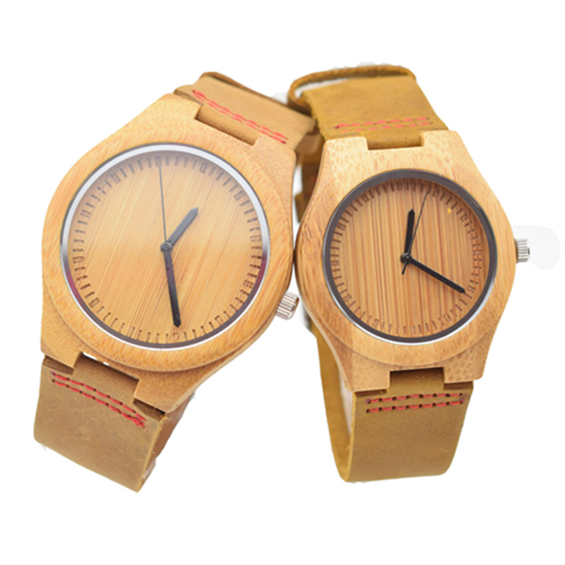 Top Selling Brand Japanese 2035 Movement Quartz Bamboo Wood Fashion Men Watch With Cowhid Genuine Leather With Gift Watch Box bobo bird brand new sun glasses men square wood oversized zebra wood sunglasses women with wooden box oculos 2017
