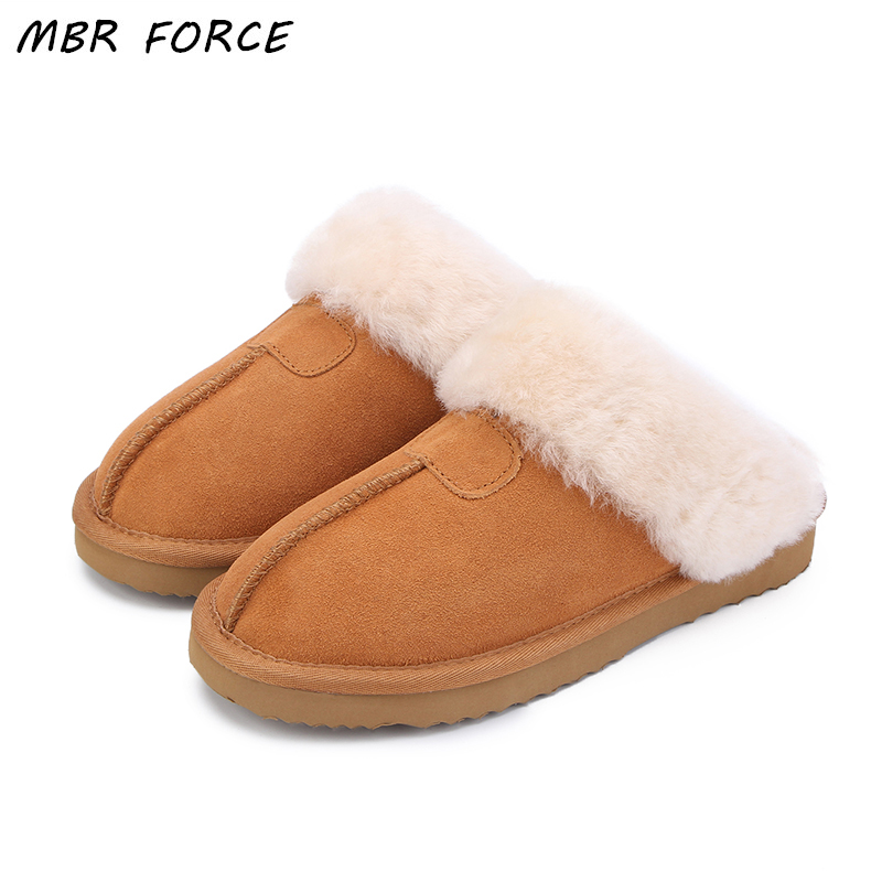 MBR FORCE Natural Fur Slippers Fashion Female Winter Slippers Women Warm Indoor Slippers Quality Soft Wool