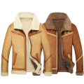 Fake Lamb Wool Lining Flight Shearling Mens Faux Sheepskin Coat Winter Men Suede Jacket Fur Coat Plus Size 3XL 4XL