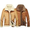 Falso cordero lana lining vuelo mens faux abrigo de piel de oveja de piel de oveja de gamuza invierno hombre chaqueta de abrigo de piel más el tamaño 3xl 4xl