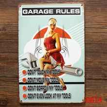 Sexy Lady GARAGE RULES 20*30 CM Metal Tin Signs Pub Bar Tin Garage Lounge Gallery Wall Decor Paintings Vintage Plaques