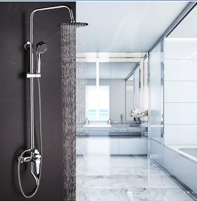 Dofaso 20cm head rain shower set stainless full bathroom mixer shower set bath shower faucets wall shower mounted стоимость